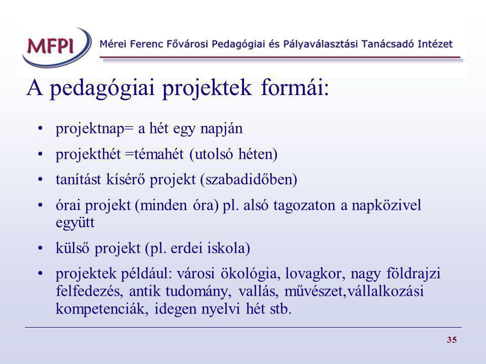 A pedagógiai projektek formái: