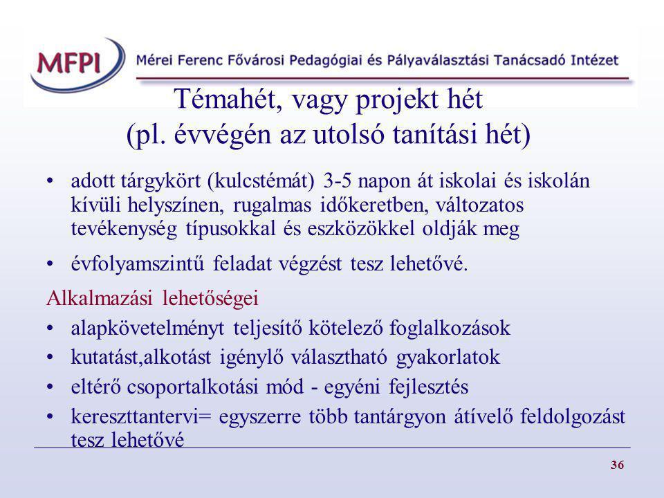 Témahét, vagy projekt hét (pl. évvégén az utolsó tanítási hét)
