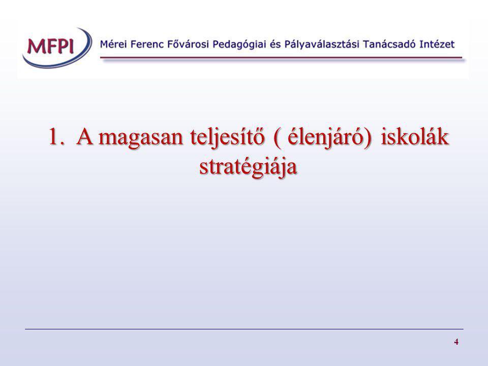 1. A magasan teljesítő ( élenjáró) iskolák stratégiája