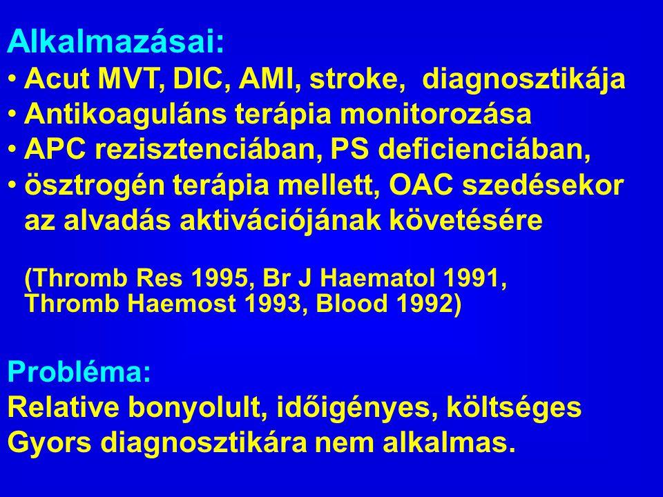 Alkalmazásai: Acut MVT, DIC, AMI, stroke, diagnosztikája
