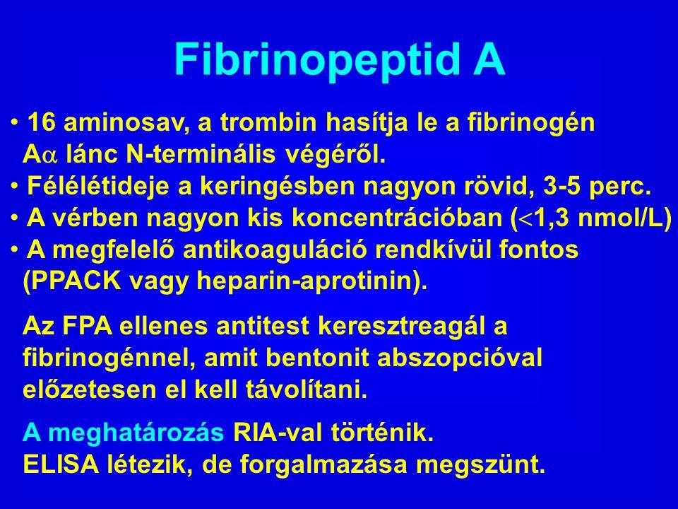 Fibrinopeptid A 16 aminosav, a trombin hasítja le a fibrinogén