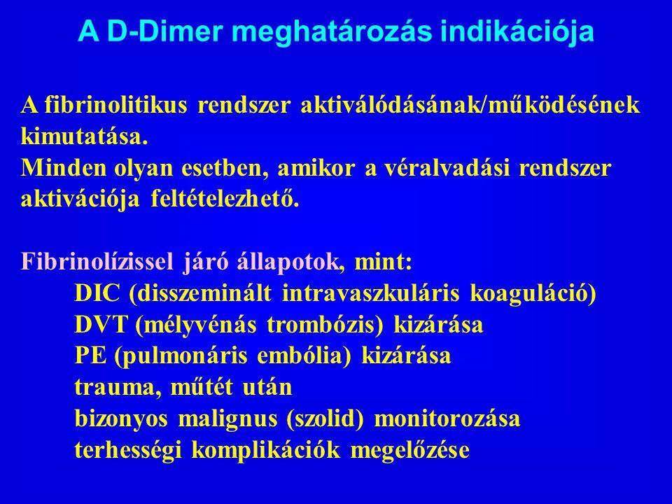 A D-Dimer meghatározás indikációja