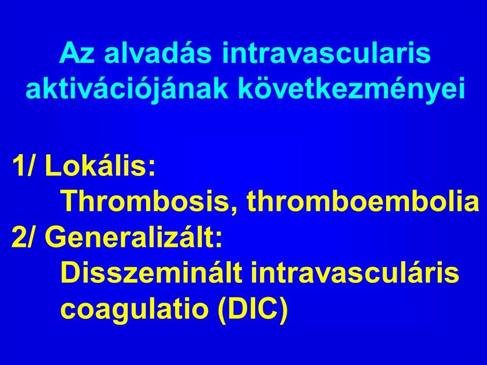 Az alvadás intravascularis aktivációjának következményei