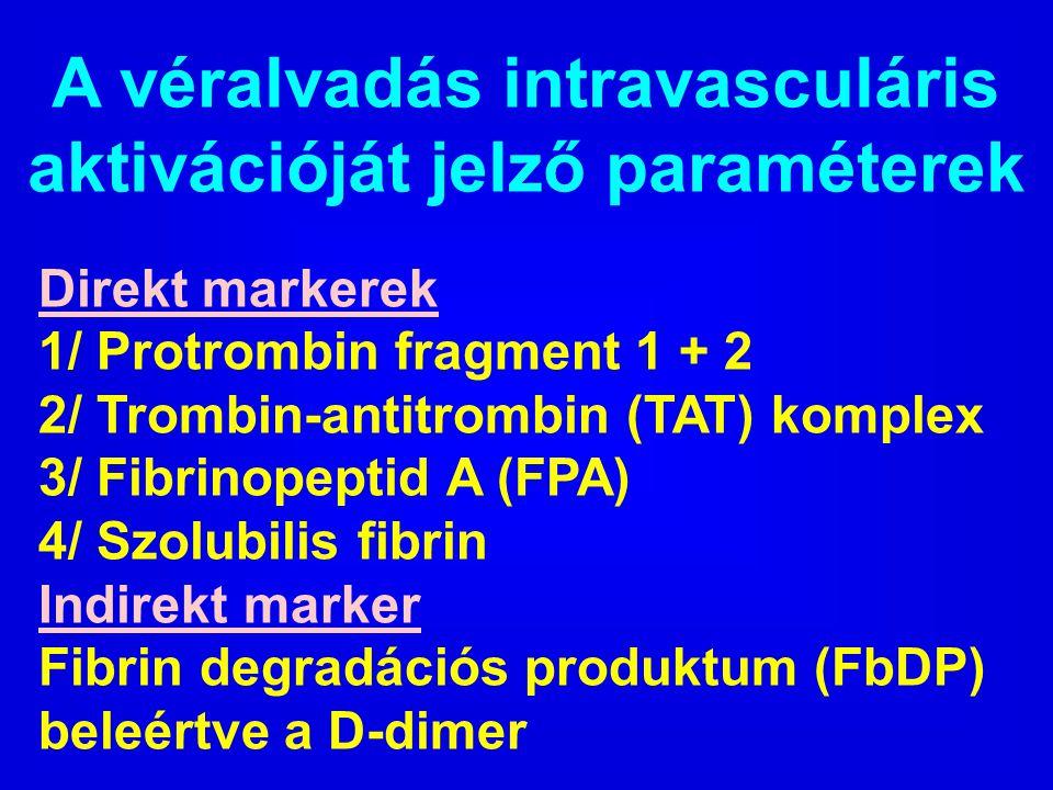 A véralvadás intravasculáris aktivációját jelző paraméterek