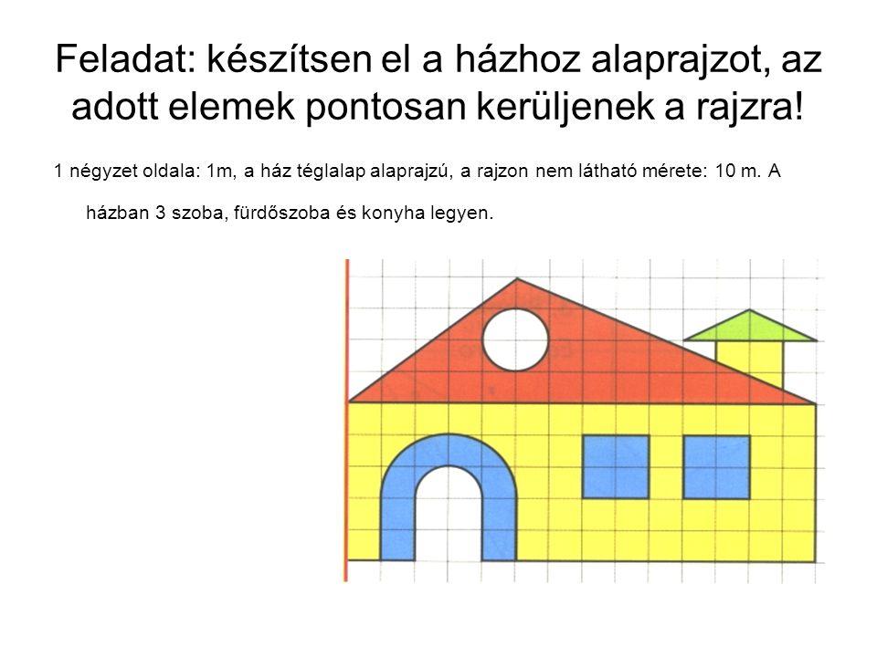 Feladat: készítsen el a házhoz alaprajzot, az adott elemek pontosan kerüljenek a rajzra!