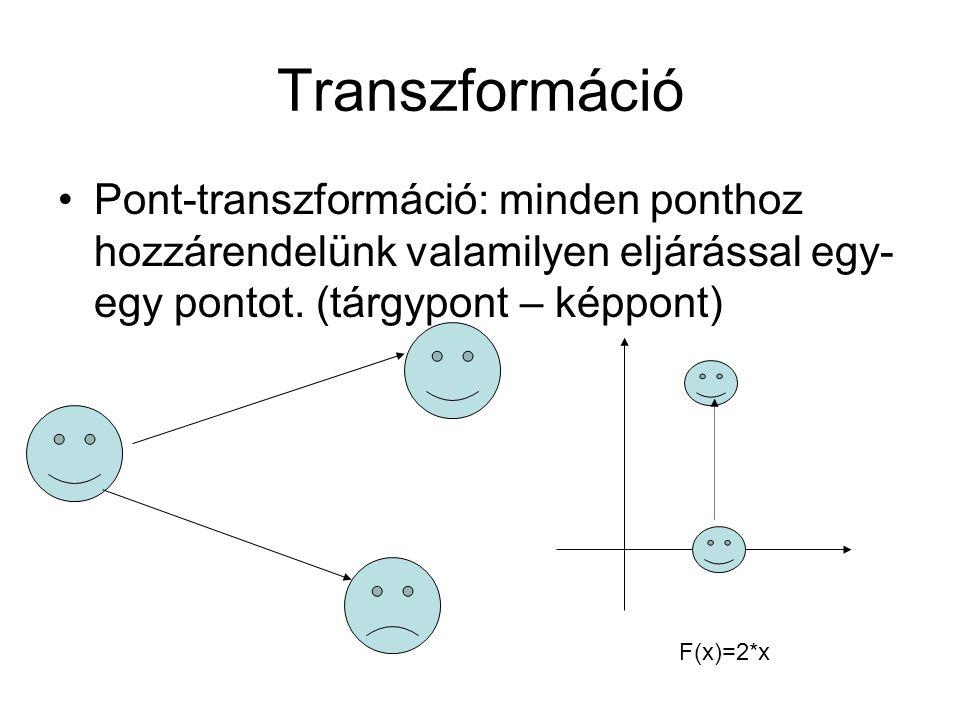 Transzformáció Pont-transzformáció: minden ponthoz hozzárendelünk valamilyen eljárással egy-egy pontot. (tárgypont – képpont)