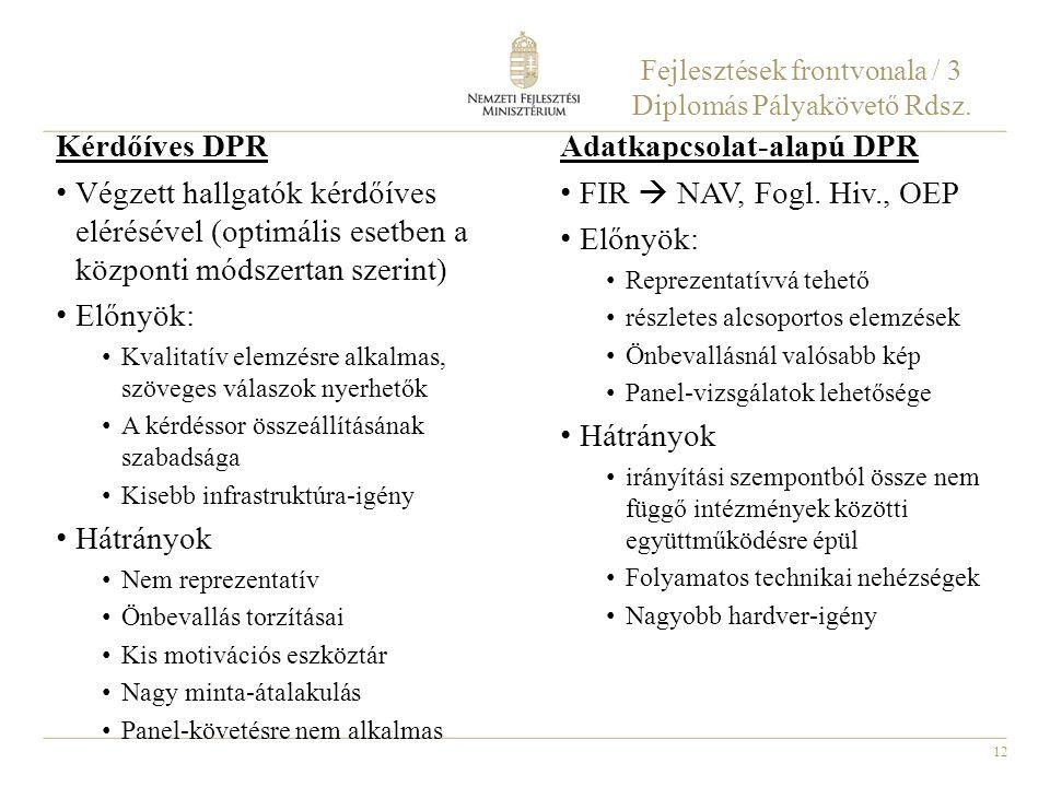Fejlesztések frontvonala / 3 Diplomás Pályakövető Rdsz.