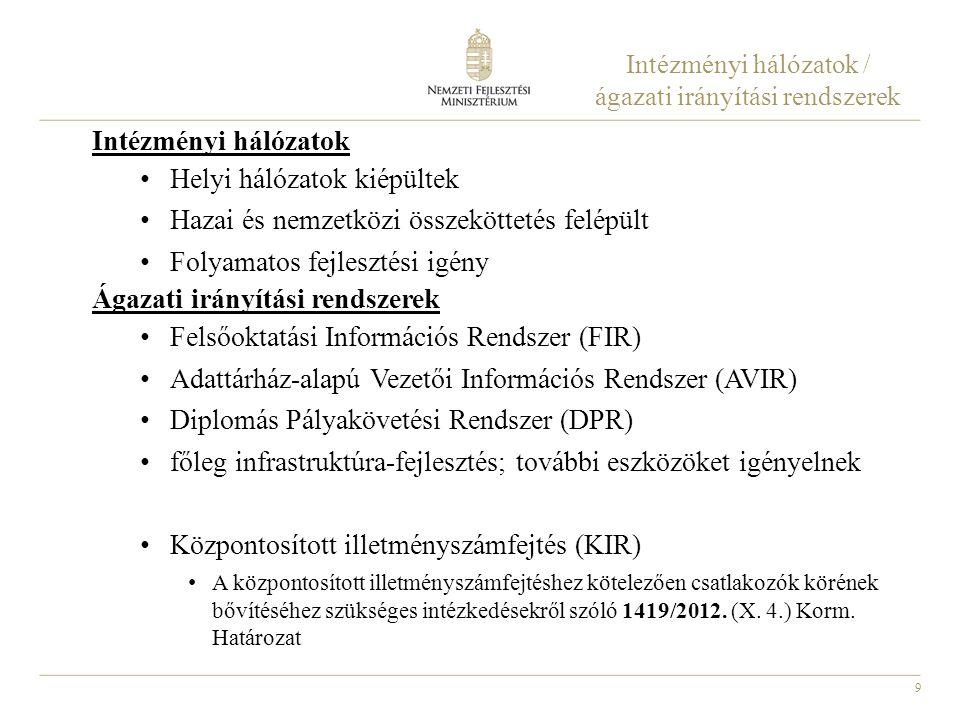 Intézményi hálózatok / ágazati irányítási rendszerek