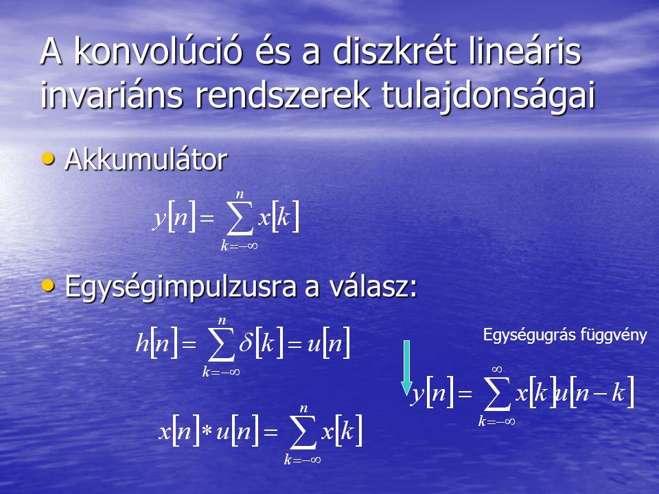 A konvolúció és a diszkrét lineáris invariáns rendszerek tulajdonságai