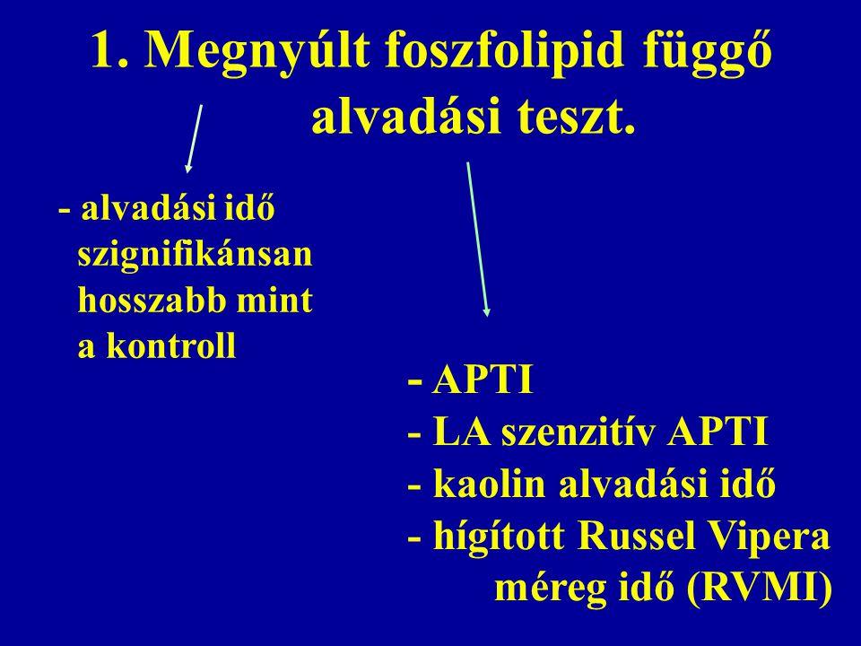 1. Megnyúlt foszfolipid függő alvadási teszt.