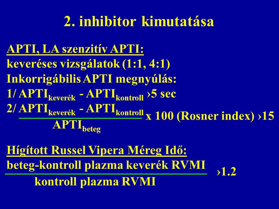 2. inhibitor kimutatása APTI, LA szenzitív APTI: