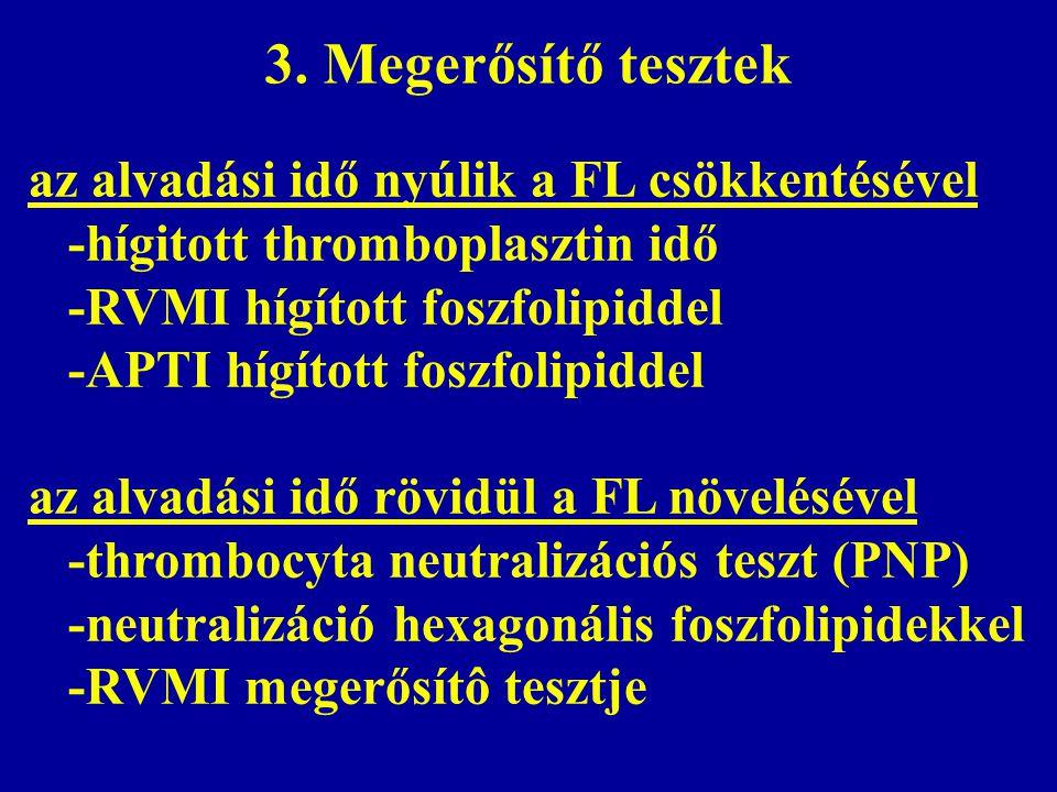 3. Megerősítő tesztek az alvadási idő nyúlik a FL csökkentésével