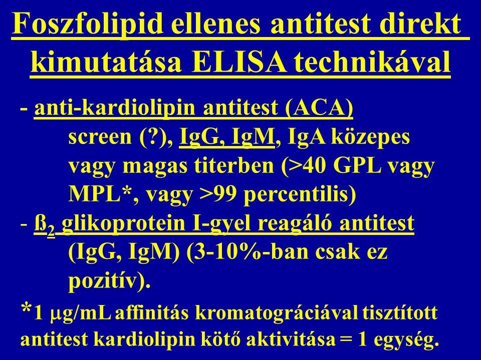 Foszfolipid ellenes antitest direkt kimutatása ELISA technikával