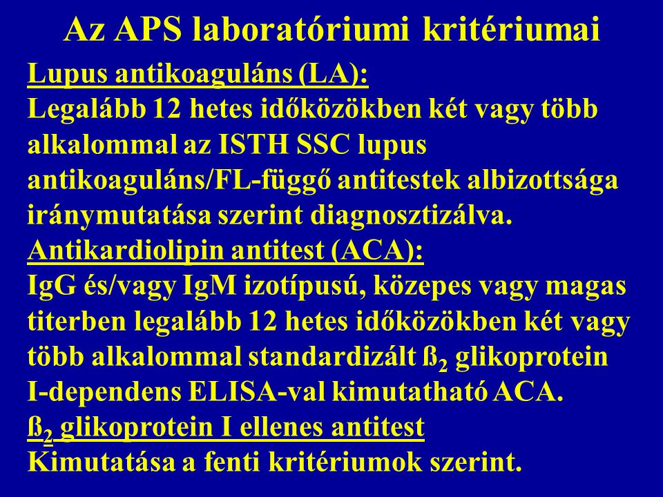 Az APS laboratóriumi kritériumai