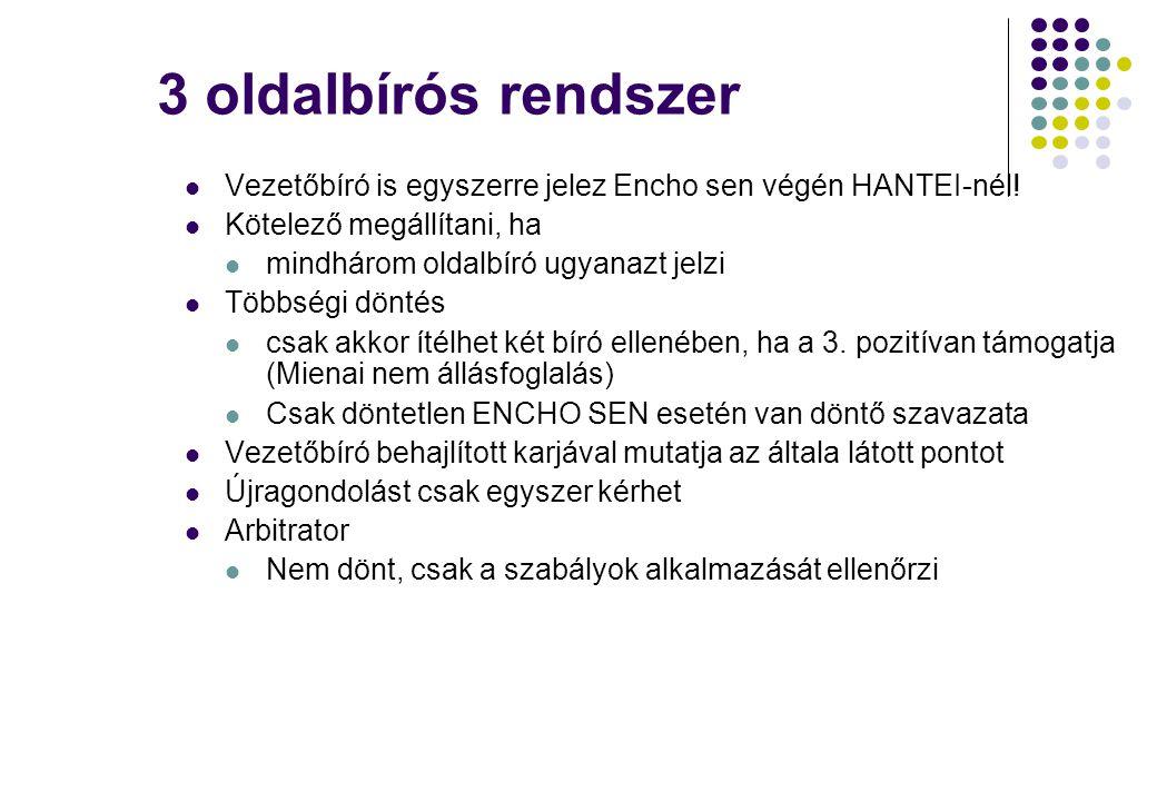 3 oldalbírós rendszer Vezetőbíró is egyszerre jelez Encho sen végén HANTEI-nél! Kötelező megállítani, ha.