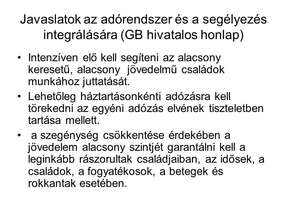 Javaslatok az adórendszer és a segélyezés integrálására (GB hivatalos honlap)