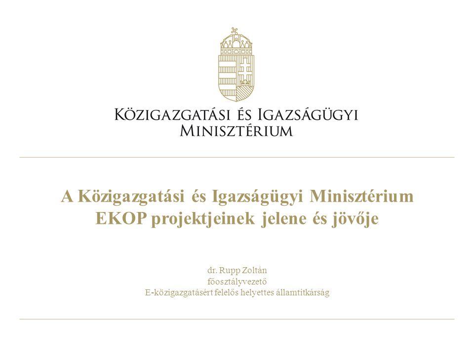 A Közigazgatási és Igazságügyi Minisztérium EKOP projektjeinek jelene és jövője dr.