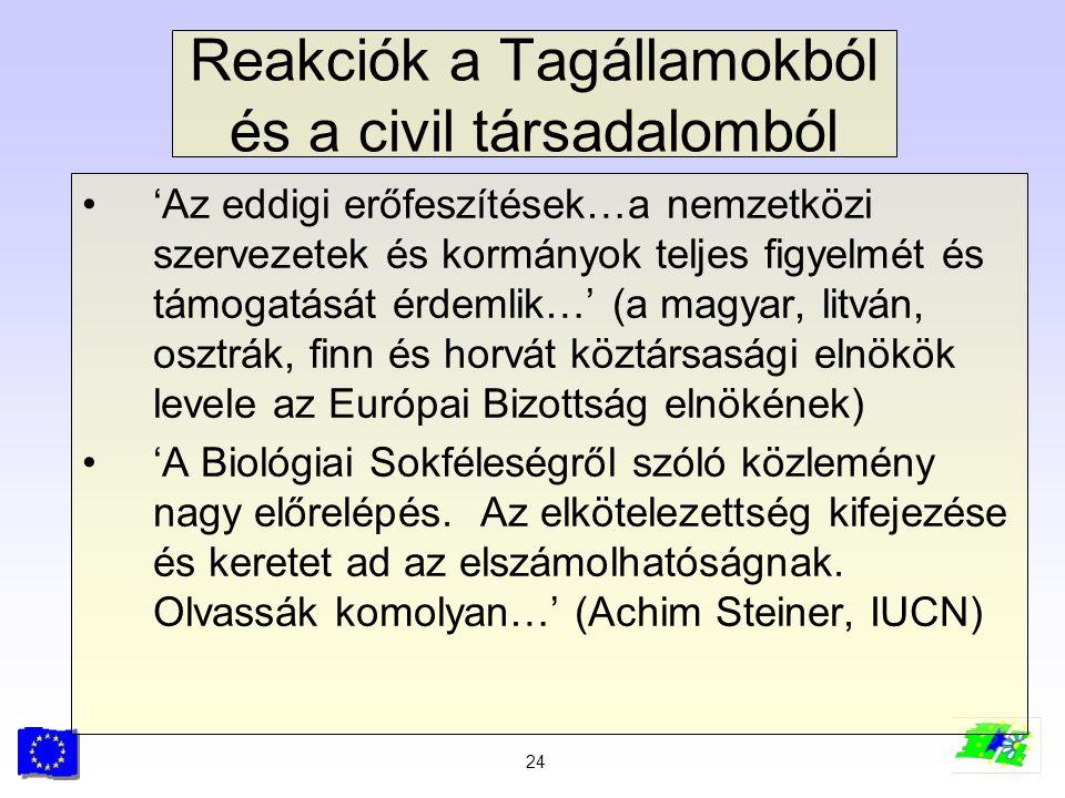Reakciók a Tagállamokból és a civil társadalomból