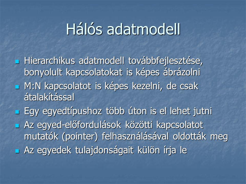 Hálós adatmodell Hierarchikus adatmodell továbbfejlesztése, bonyolult kapcsolatokat is képes ábrázolni.