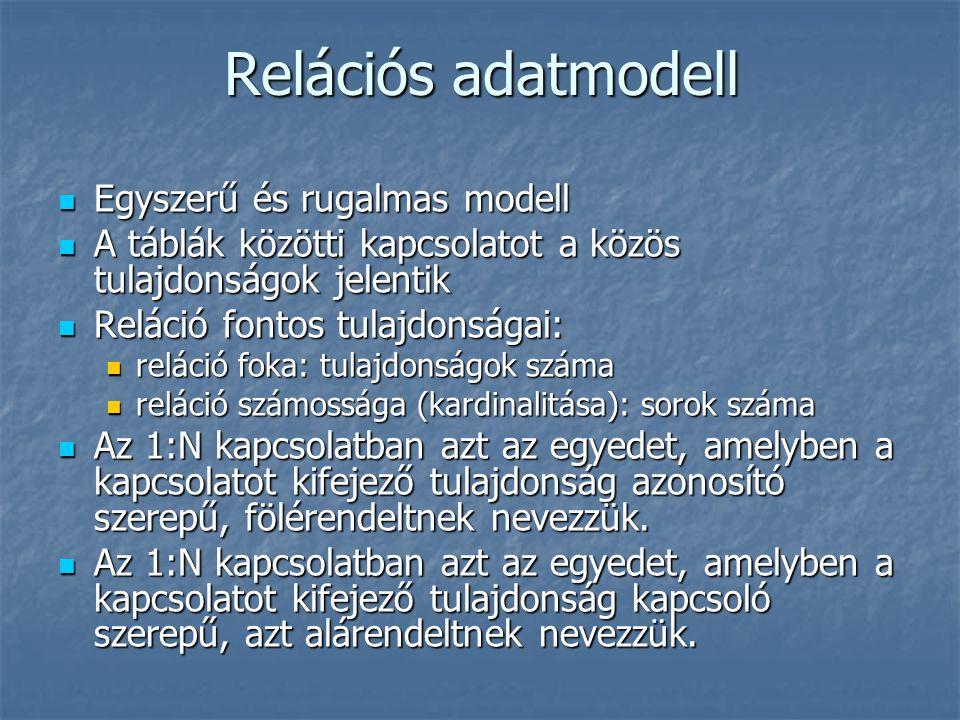 Relációs adatmodell Egyszerű és rugalmas modell