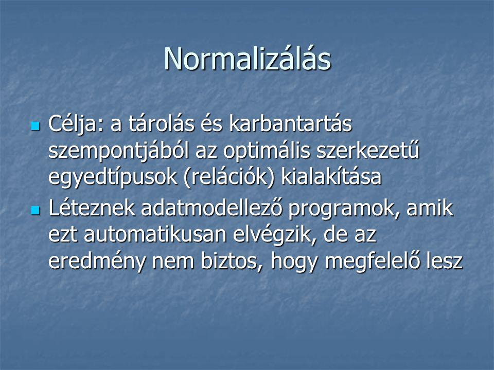 Normalizálás Célja: a tárolás és karbantartás szempontjából az optimális szerkezetű egyedtípusok (relációk) kialakítása.