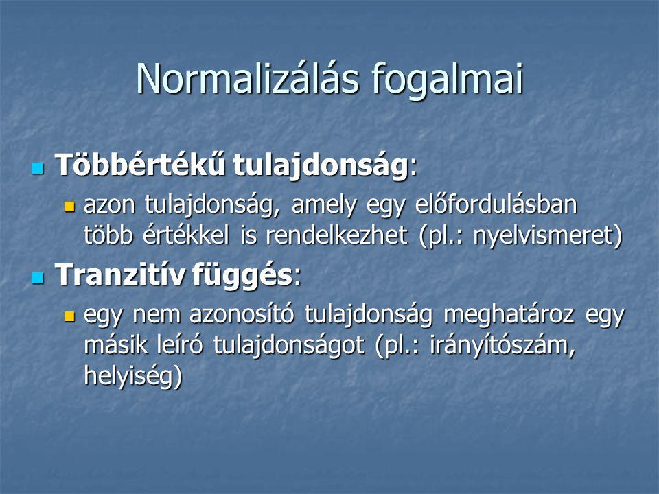 Normalizálás fogalmai