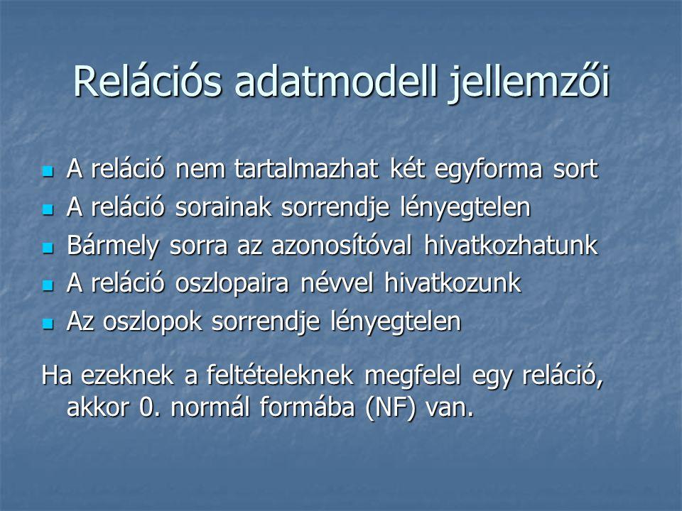 Relációs adatmodell jellemzői