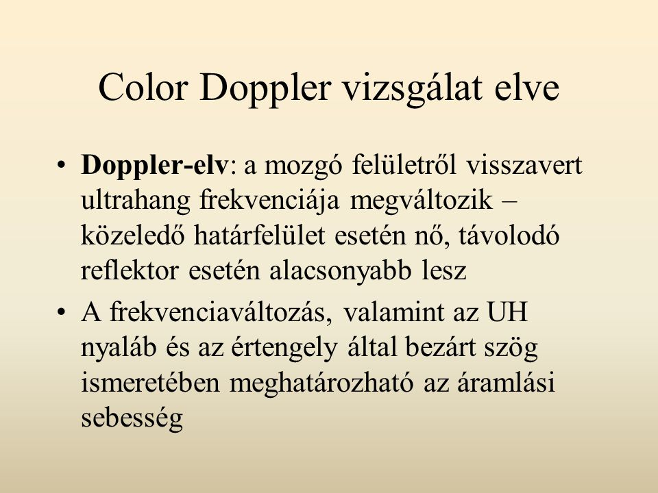 Color Doppler vizsgálat elve
