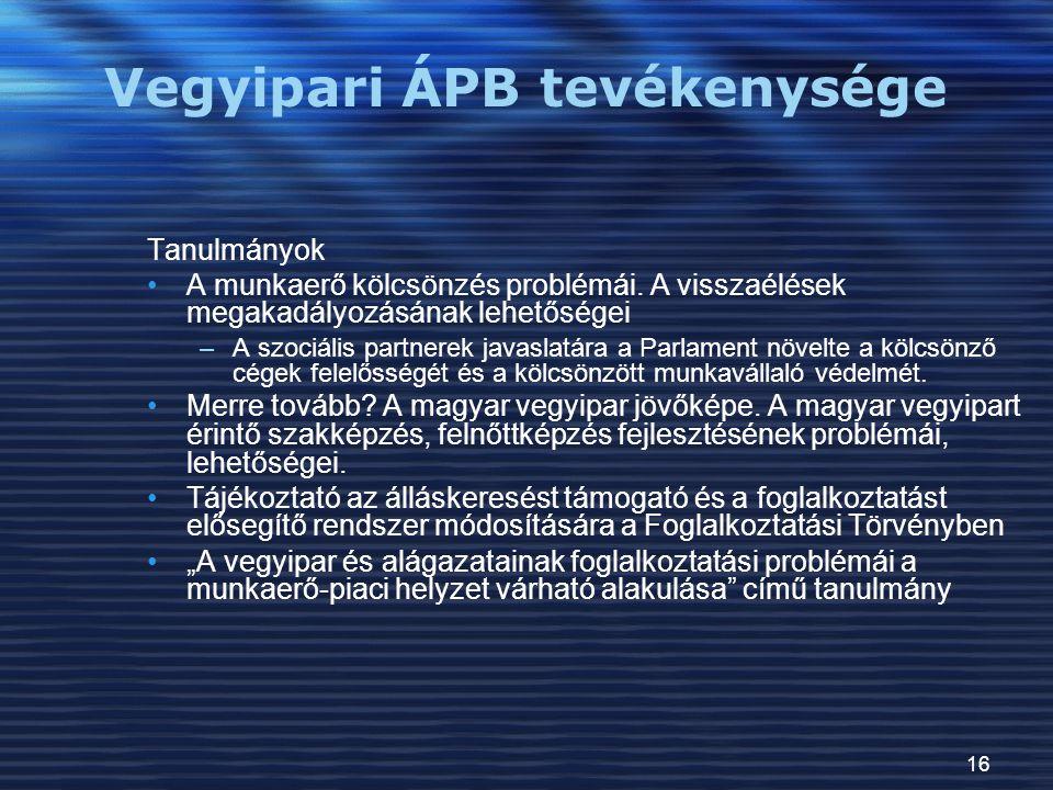 Vegyipari ÁPB tevékenysége