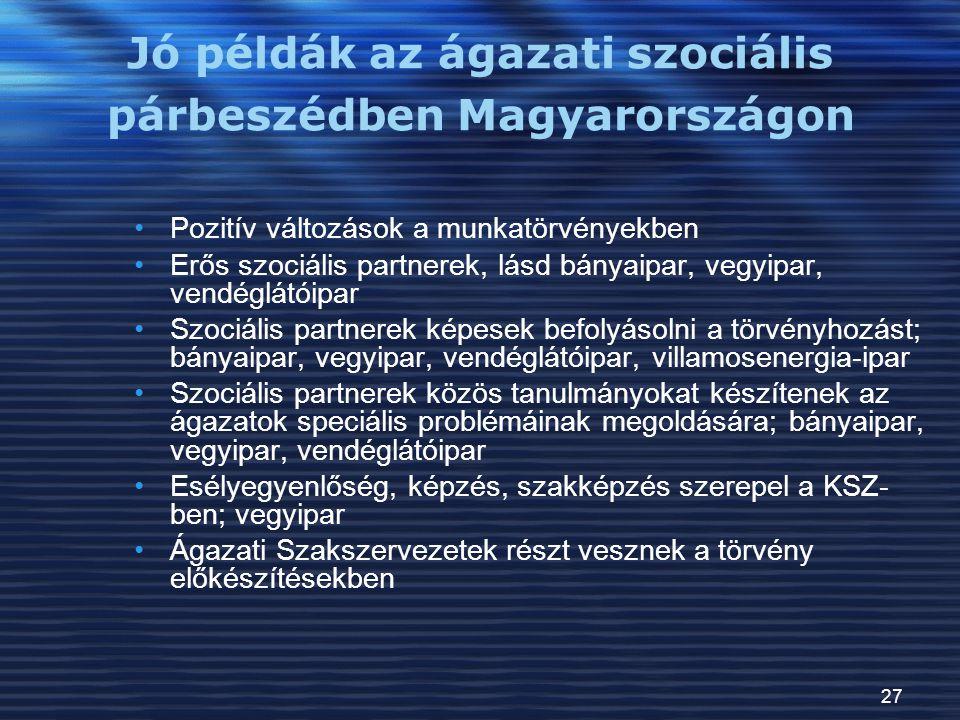 Jó példák az ágazati szociális párbeszédben Magyarországon
