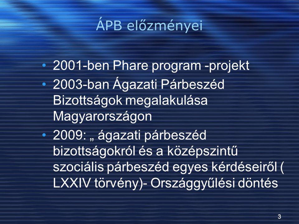 ÁPB előzményei 2001-ben Phare program -projekt. 2003-ban Ágazati Párbeszéd Bizottságok megalakulása Magyarországon.