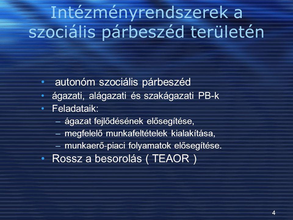 Intézményrendszerek a szociális párbeszéd területén