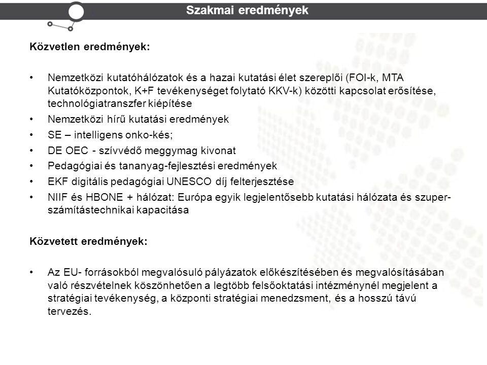 Cohesion Policy Szakmai eredmények Közvetlen eredmények: