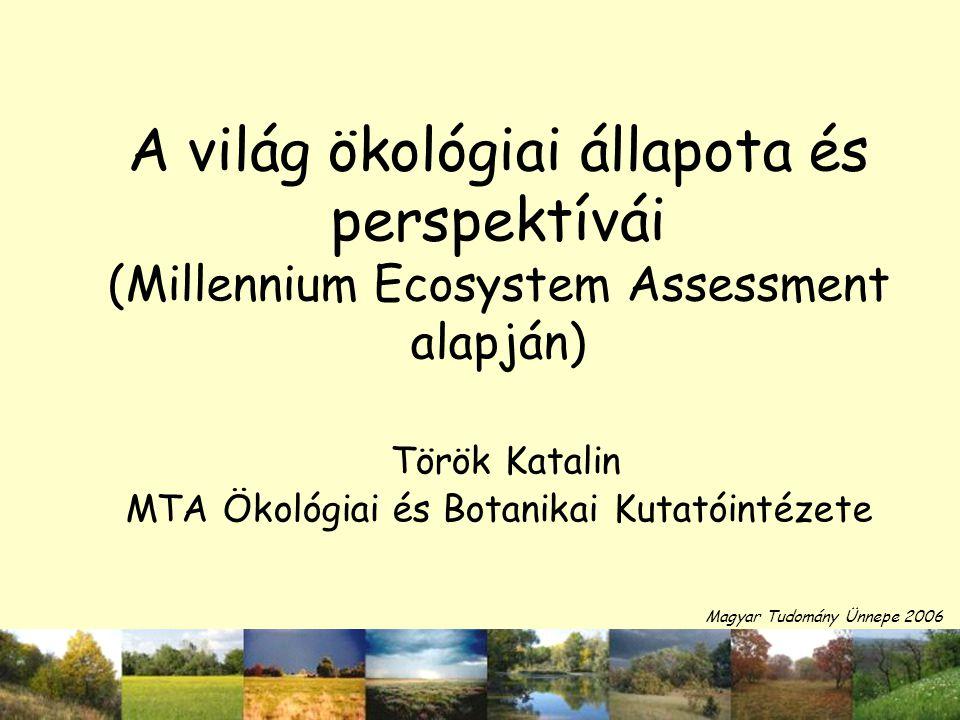 A világ ökológiai állapota és perspektívái (Millennium Ecosystem Assessment alapján) Török Katalin MTA Ökológiai és Botanikai Kutatóintézete