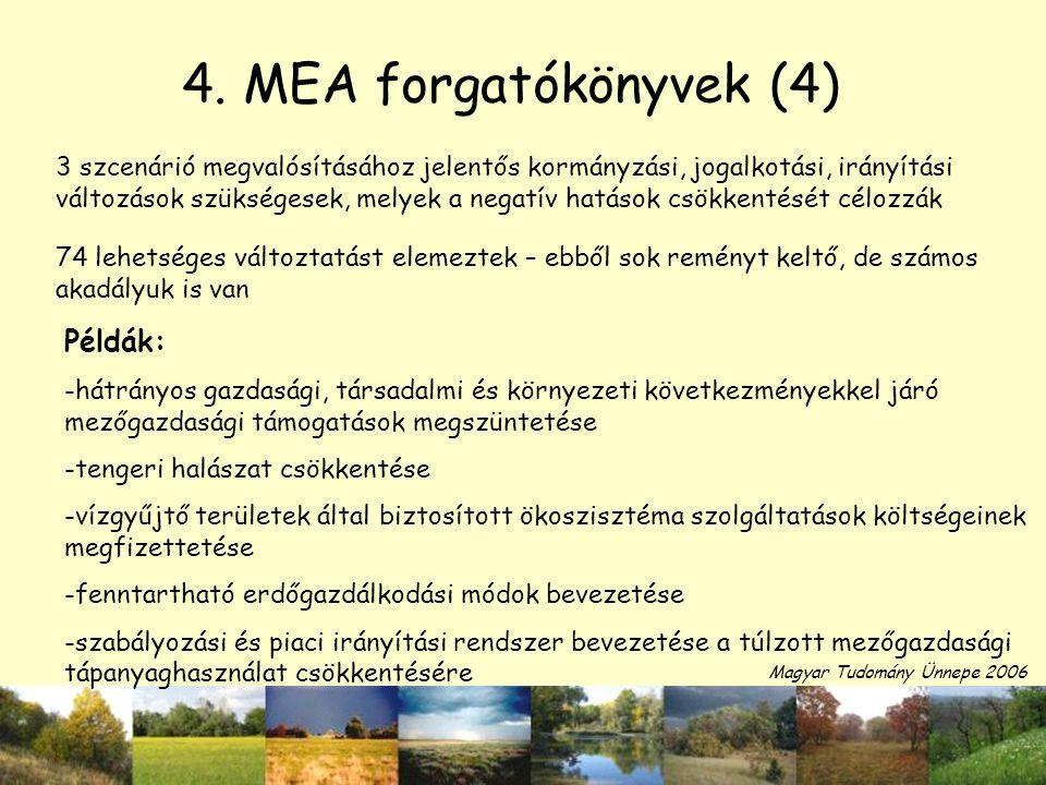 4. MEA forgatókönyvek (4) Példák: