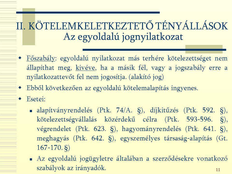 II. KÖTELEMKELETKEZTETŐ TÉNYÁLLÁSOK Az egyoldalú jognyilatkozat
