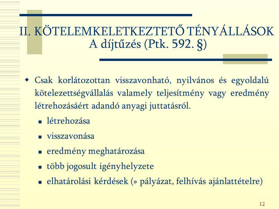 II. KÖTELEMKELETKEZTETŐ TÉNYÁLLÁSOK A díjtűzés (Ptk. 592. §)