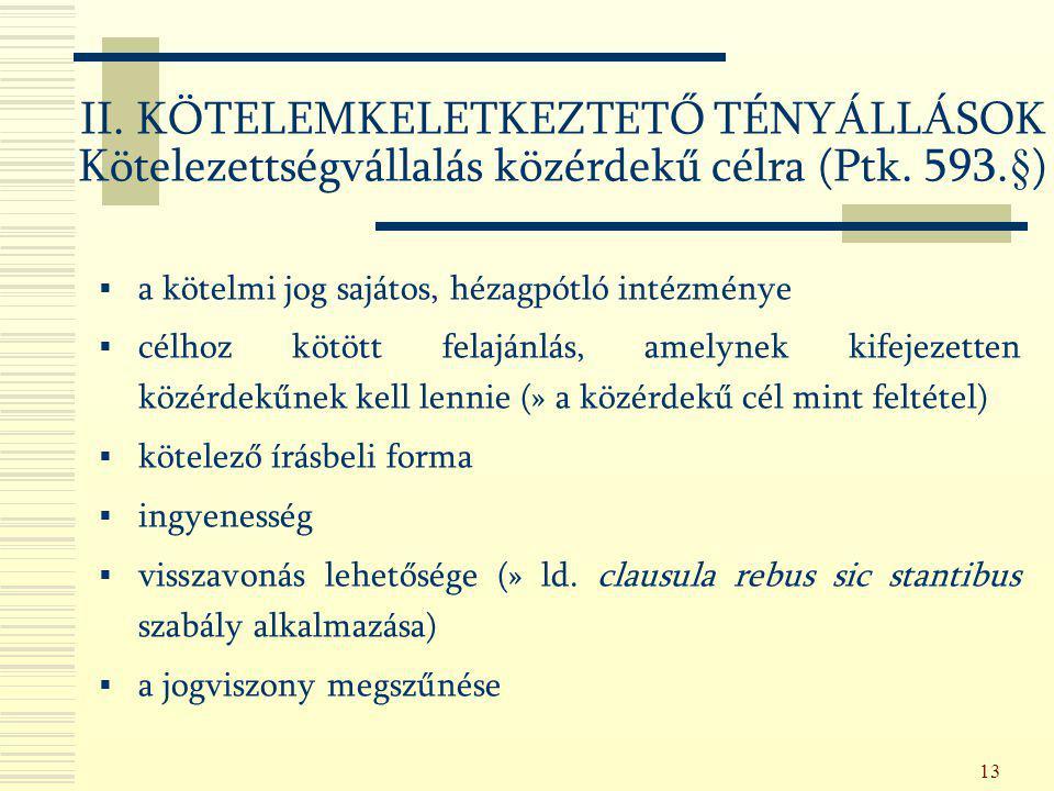 II. KÖTELEMKELETKEZTETŐ TÉNYÁLLÁSOK Kötelezettségvállalás közérdekű célra (Ptk. 593.§)
