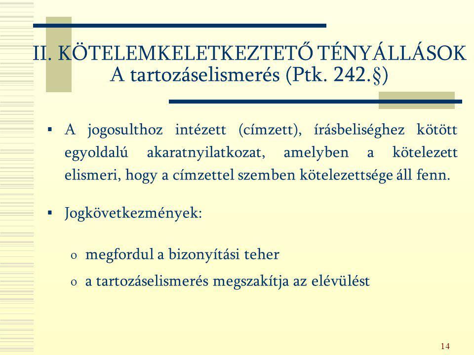 II. KÖTELEMKELETKEZTETŐ TÉNYÁLLÁSOK A tartozáselismerés (Ptk. 242.§)