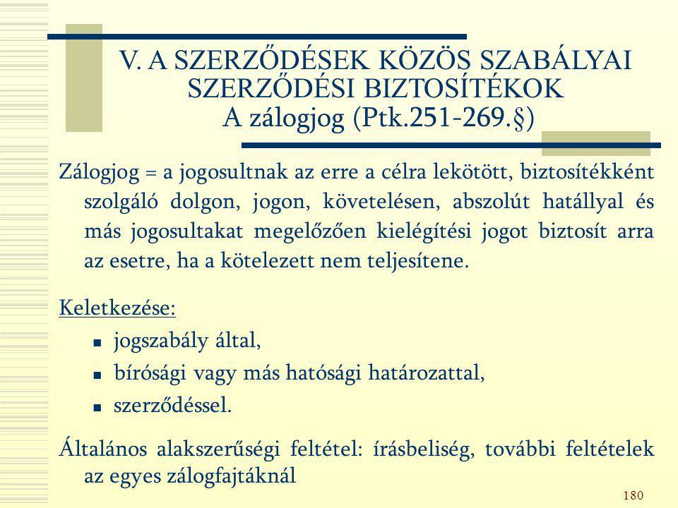 V. A SZERZŐDÉSEK KÖZÖS SZABÁLYAI SZERZŐDÉSI BIZTOSÍTÉKOK A zálogjog (Ptk.251-269.§)