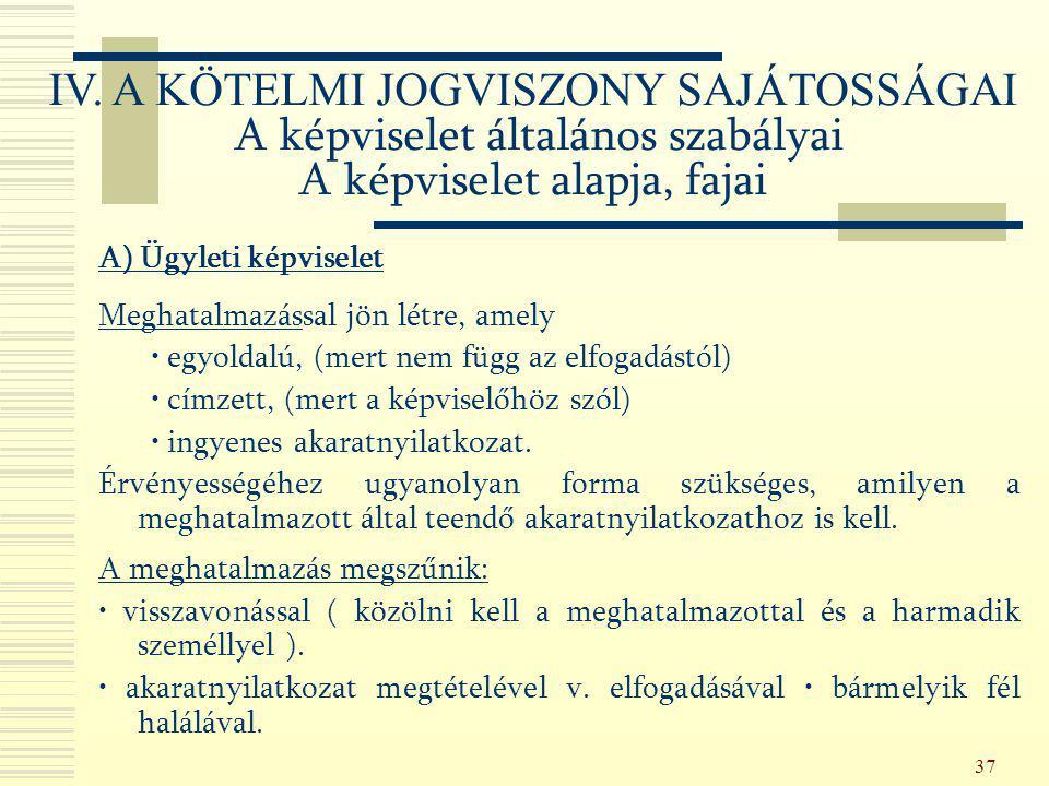 IV. A KÖTELMI JOGVISZONY SAJÁTOSSÁGAI A képviselet általános szabályai