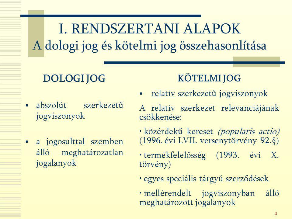 I. RENDSZERTANI ALAPOK A dologi jog és kötelmi jog összehasonlítása