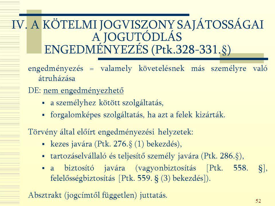 IV. A KÖTELMI JOGVISZONY SAJÁTOSSÁGAI A JOGUTÓDLÁS ENGEDMÉNYEZÉS (Ptk