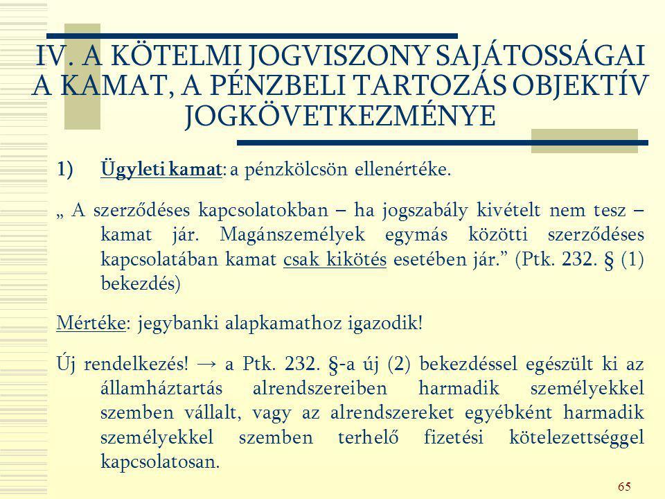 IV. A KÖTELMI JOGVISZONY SAJÁTOSSÁGAI A KAMAT, A PÉNZBELI TARTOZÁS OBJEKTÍV JOGKÖVETKEZMÉNYE