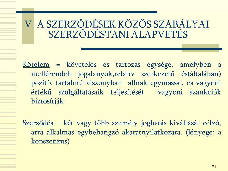 V. A SZERZŐDÉSEK KÖZÖS SZABÁLYAI SZERZŐDÉSTANI ALAPVETÉS