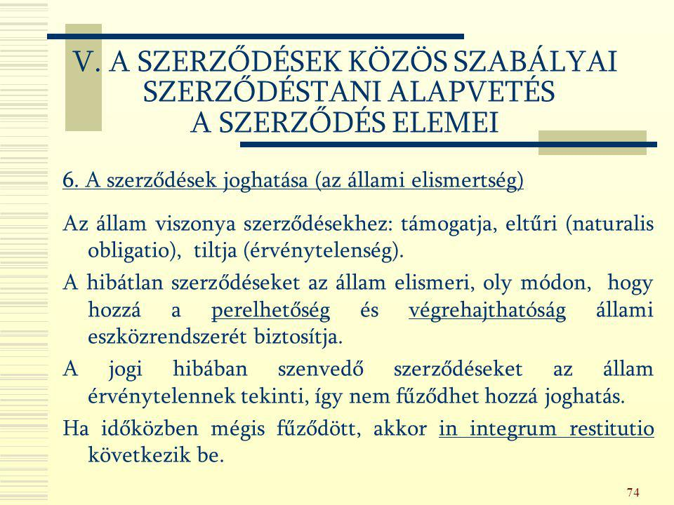 V. A SZERZŐDÉSEK KÖZÖS SZABÁLYAI SZERZŐDÉSTANI ALAPVETÉS A SZERZŐDÉS ELEMEI