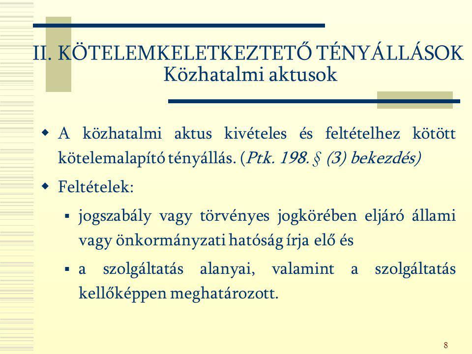 II. KÖTELEMKELETKEZTETŐ TÉNYÁLLÁSOK Közhatalmi aktusok