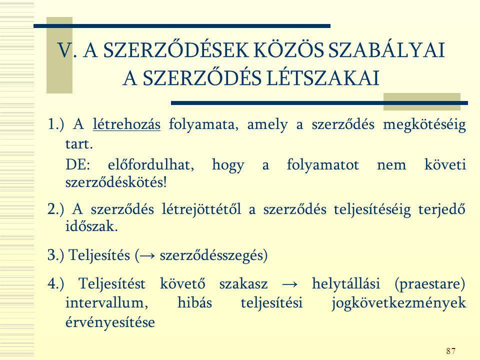 V. A SZERZŐDÉSEK KÖZÖS SZABÁLYAI