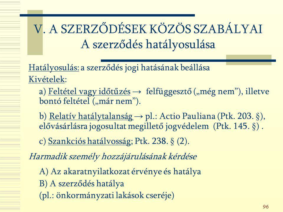 V. A SZERZŐDÉSEK KÖZÖS SZABÁLYAI A szerződés hatályosulása