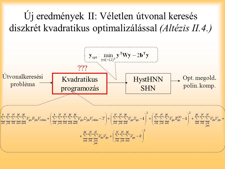 Új eredmények II: Véletlen útvonal keresés diszkrét kvadratikus optimalizálással (Altézis II.4.)